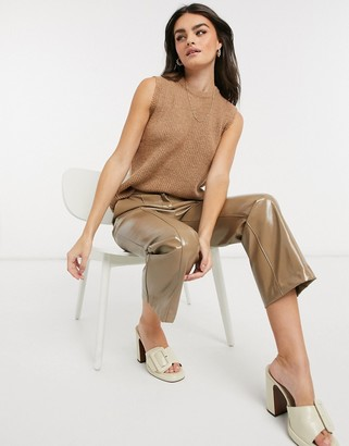 Y.A.S knitted sleeveless top in camel