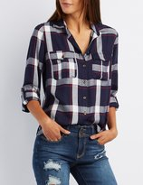 Charlotte Russe Plaid Button-Up Shirt