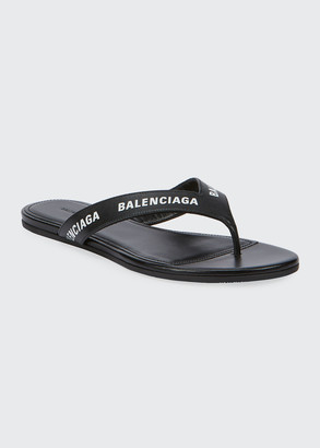 Balenciaga Leather Logo Thong Sandals