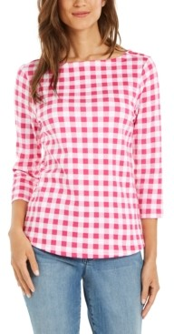 Charter Club Petite Cotton Gingham-Print Button-Trim Top, Created for Macy's