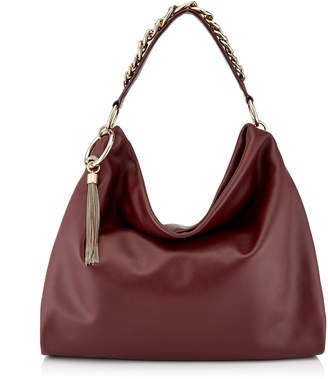 Jimmy Choo CALLIE/L Bordeaux Calf Leather Slouchy Shoulder Bag with Gold Chain Strap