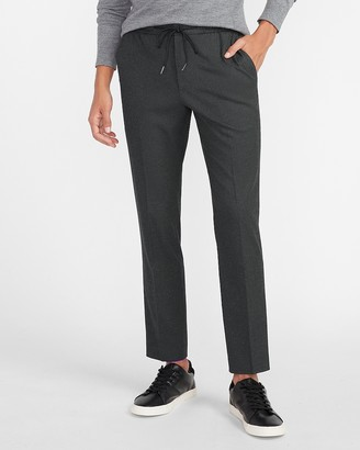 Express Extra Slim Solid Charcoal Drawstring Flannel Suit Pant
