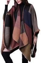 FEOYA Women's Tartan Shawl Capes Wraps Poncho Leopard Printed Red
