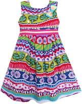 Sunny Fashion FN51 Girls Dress Bow Tie Flower Striped Print A-line