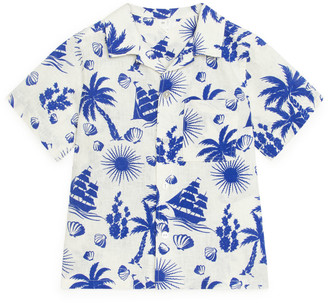 Arket Printed Cotton-Linen Shirt