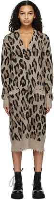R13 Beige Cashmere Long Leopard Cardigan