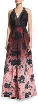 Carmen Marc Valvo Sleeveless Floral Ombre Gown, Black/Crimson