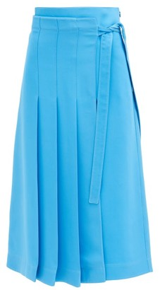 Valentino Cady Couture Knife-pleat Silk Midi Skirt - Light Blue