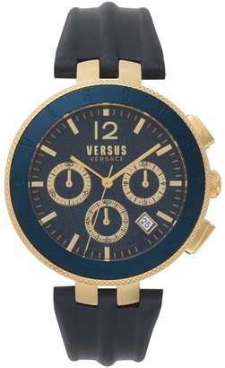Versus Men's New Logo Quartz Chronograph Leather Strap Watch, 44mm