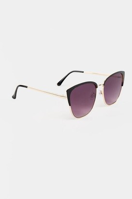 francesca's Tina Metal Rim Cat Eye Sunglasses - Black
