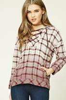Forever 21 FOREVER 21+ Plaid Flannel Lace-Up Hoodie