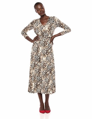 Chaus Women's 3/4 Sleeve Leopard Wrap Dress