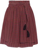 Apiece Apart Baja Printed Pleated Silk-crepon Mini Skirt - Burgundy