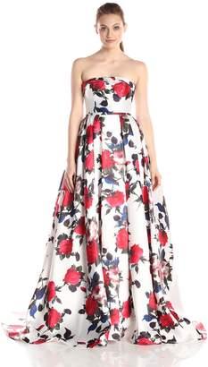 Mac Duggal Women's Long Rose Floral Printed Ballgown