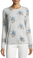 Joie Feronia Cashmere Floral-Print Sweater, Gray