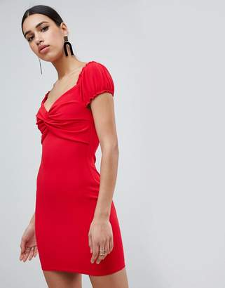 Bardot Flounce London Knot Front Mini Dress with Puff Sleeve-Red