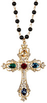 Cara Accessories Rhinestone Embellished Cross Beaded Necklace