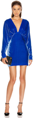 Cushnie Plunging Long Sleeved Mini Dress in Ultra Marine | FWRD