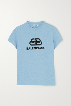 Balenciaga Cropped Printed Cotton-jersey T-shirt - Blue