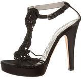 Alberta Ferretti Woven T-Strap Sandals