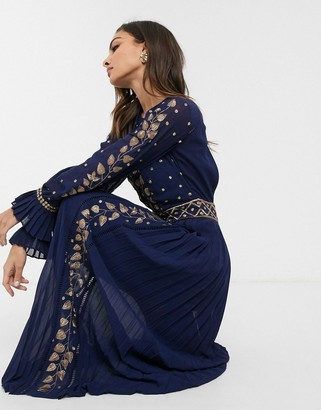 Frock and Frill embellished detail long sleeve maxi dress-Navy