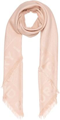 Burberry Monogram Silk Wool Jacquard Large Square Scarf