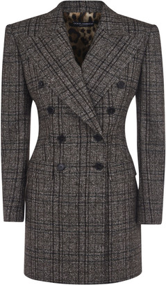 Dolce & Gabbana Checked Double-breasted Long Blazer