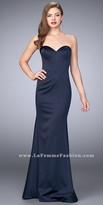 La Femme Strapless Stretch Satin Multi Seam Evening Dress