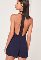 Missguided Crepe Lace T Bar Playsuit Navy