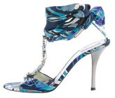 Emilio Pucci Crystal-Embellished Satin Sandals