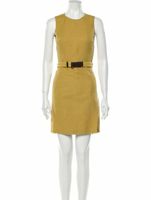 Prada Crew Neck Mini Dress Yellow