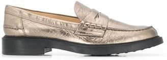 Tod's Metallic Almond-Toe Loafers