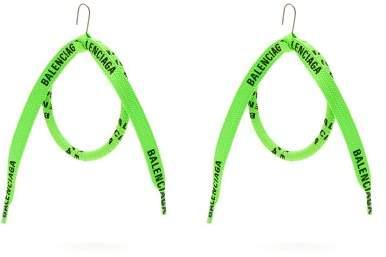 Balenciaga - Lace Wrapped Silk Hoop Earrings - Womens - Green