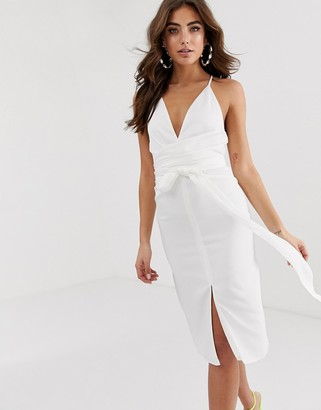 Asos Design DESIGN cami midi dress with wrap waist in satin-White