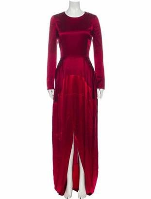 Oscar de la Renta Crew Neck Long Dress Red