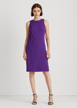 Ralph Lauren Snap-Trim Crepe Shift Dress