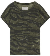 Current/Elliott The Rolled Crew Camouflage-print Cotton-jersey T-shirt - Green