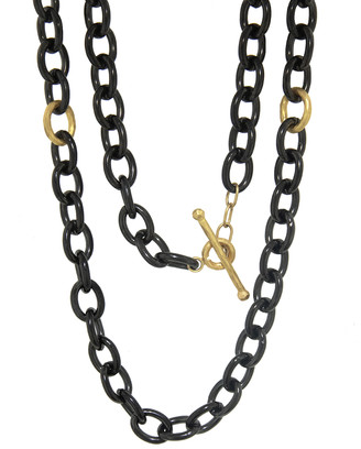 Cathy Waterman Oval Link Chain with Yellow Gold Loops Necklace - Stainless Steel