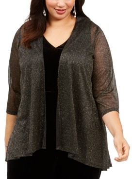 Connected Plus Size Open-Front Glitter Jacket