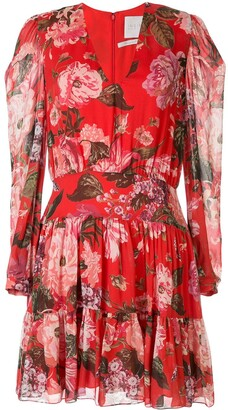 Ingie Paris floral long-sleeve shift dress