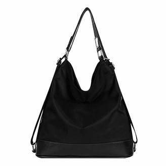Millya Uk Millya Women's Handbag Nylon Tote Shoulder Bag Crossbody Bag Ladies Multifunctional Purse Convertible Backpack Black