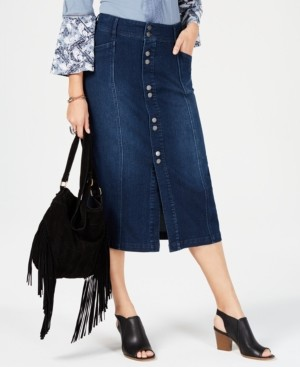 Style&Co. Style & Co Button-Front Midi Denim Skirt, Created for Macy's