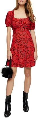 Topshop Leopard Print Gathered Bust Minidress