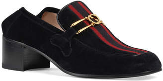 Gucci Lubbock 45mm Suede Loafers with Web Front