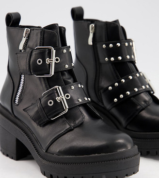 Raid Wide Fit Saint chunky boots with buckle detail in black