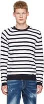 DSQUARED2 White Striped Pullover