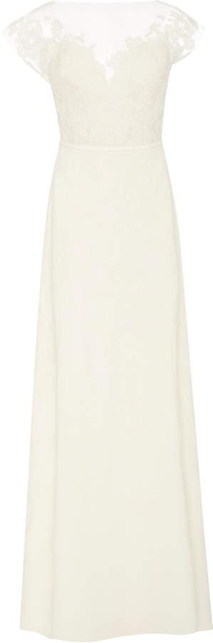 Carolina Herrera Bridal Hannah Illusion Lace Open-Back Silk-Georgette Gown