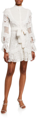 Alexis Shanna High-Neck Lace Short Dress