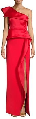 Marchesa One-Shoulder Slit Column Gown