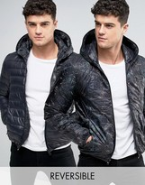 Replay Reversible Quilted Hooded Jacket in Black and Digi Print
